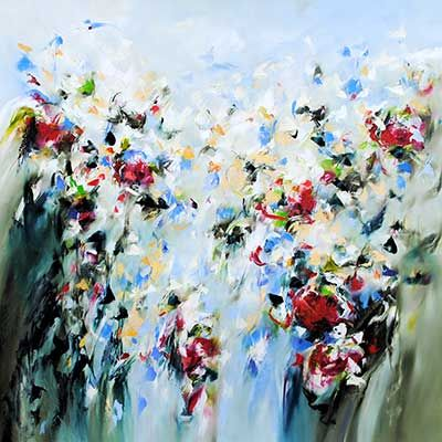 "Carole Arnston, ""Wildly in Spring"", 40x40"", Oil on Canvas on display at Crescent Hill Gallery"
