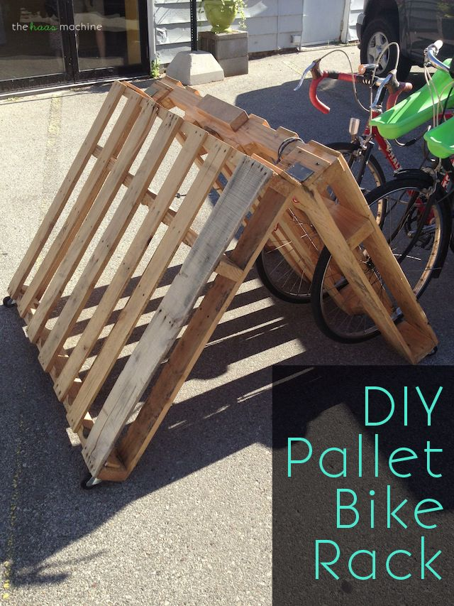 DIY Portable Pallet Bike Rack: Just in time for National Bike Month! // The Haas Machine