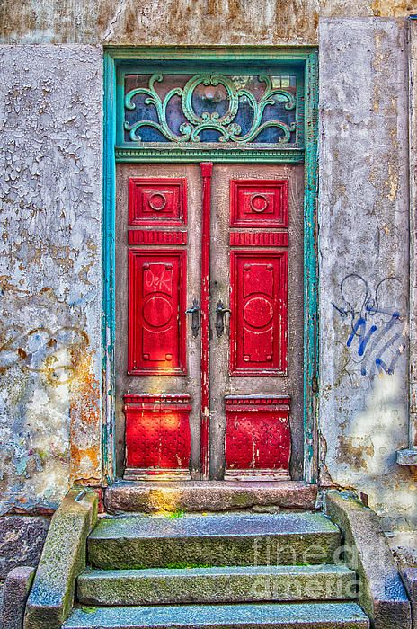 """Red Door Green Frame"" by Antony McAulay via fineartamerica.com - This is a photograph depicting an old red door in a green doorway both of which have seen better days."