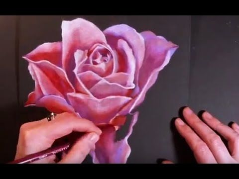 Speed Painting Flower - Drawing a Rose with Colored Pencils on Black Paper - YouTube