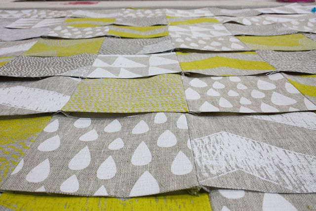 Piecing together the baby quilt by harvest textiles | harvest workroom, via Flickr