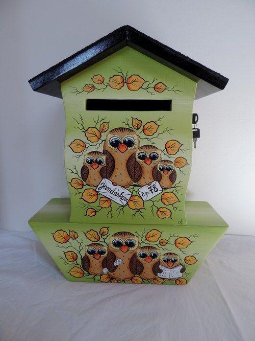 Poštovní schránka s tubou-zelená-sovičky