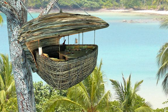 Dining pod Thailand: Soneva Letter, Birds Nests, Resorts, Tree Houses, Treehouse, Thailand, Islands, Trees House, Places