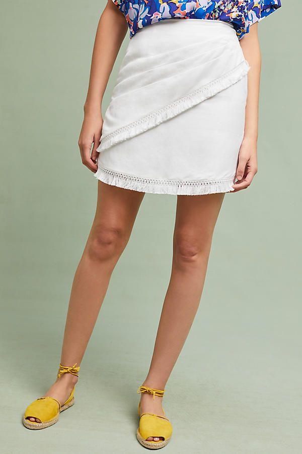 Slide View: 1: Fringed Linen Mini Skirt