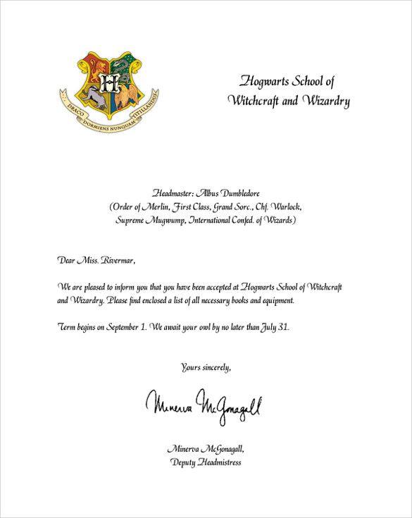 Amp Pinterest In Action Hogwarts Acceptance Letter Template