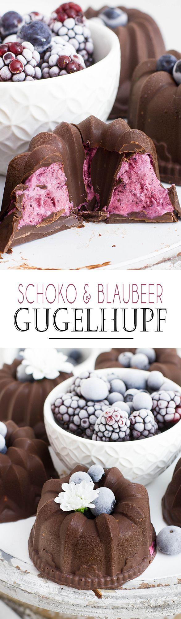 Frozen Chocolate Blueberry Cheesecakes | Kleine Schokoladen Blaubeer Gugelhupfe mit halbgefrorener Cheesecake Füllung