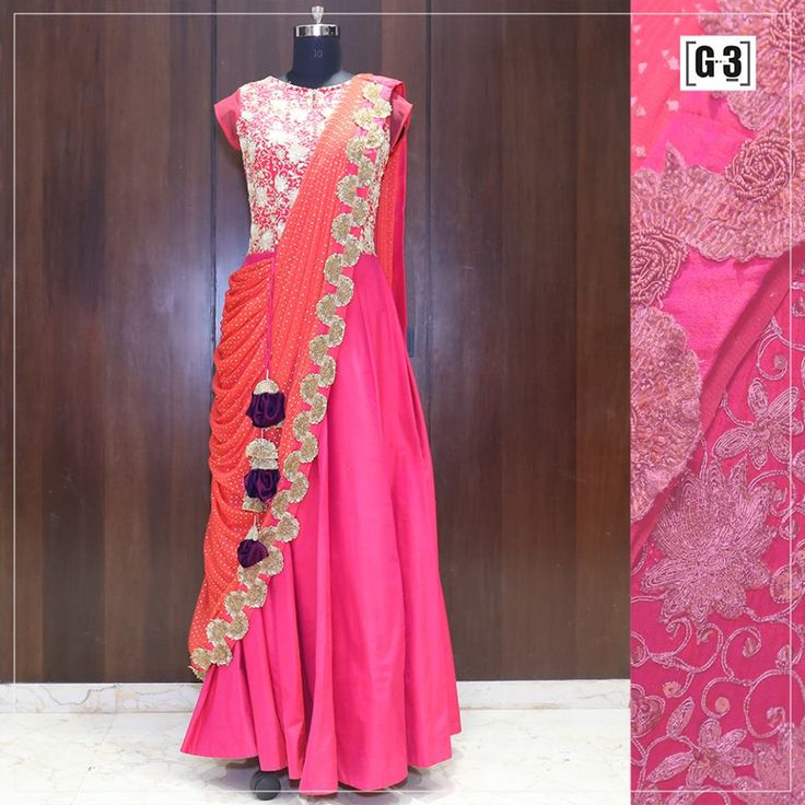 Stylish Saree Gown Style for that Vibrant Sangeet or Navaratri  Sizzle the Night look in Bright Shades with modern Style. For Instant Price and Queries Whatsapp - +91-9913433322