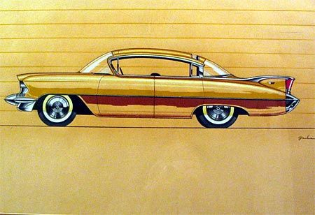 """Ref#269 Date:circa 1956 Artist:Robert Gale, signed """"Gale"""" Make:Cadillac Model:Hardtop sedan Type:Conceptual rendering Medium:Gouache and colored pencil on paper Size:14.5 x 21.5"""