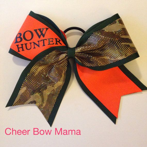 BOW HUNTER Blaze Orange and Camouflage Cheer Bow by CheerBowMama, $13.00