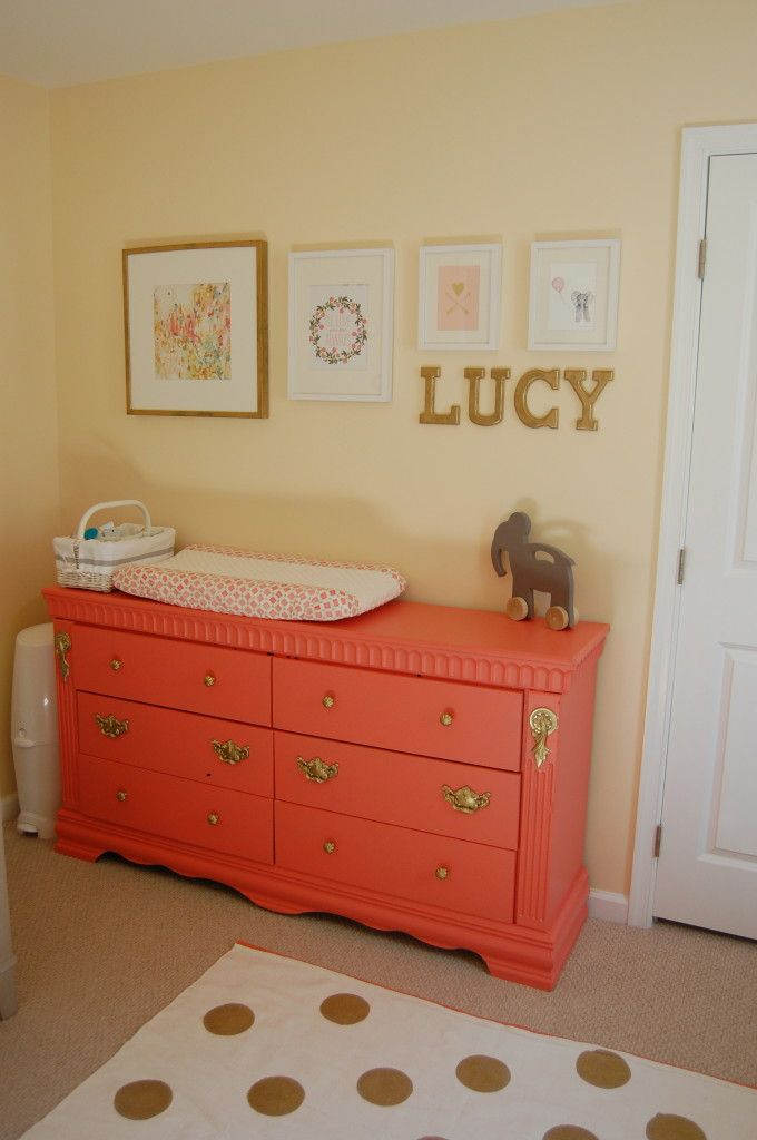 Coral Painted Dresser & Changing TableBaby Girl Nursery Coral, Coral Painting Dressers, Coral Gold Nurseries, Painted Dressers, Gold Accent, Coral Dressers, Gallery Wall, Baby Name Nursery Wall, Coral Gold Nursery