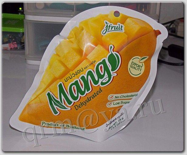 Обезвоженные засахаренные ломтики манго в герметичной упаковке, марка «Джейфрут» (Таиланд)