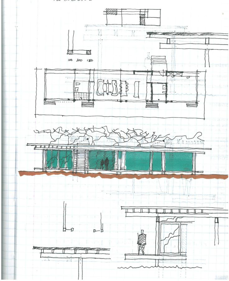 Initial sketch for a timber bungalow.