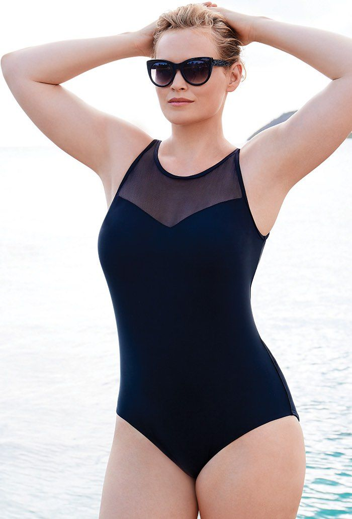 91259c3676 Buy Black Mesh High Neck Swimsuit at SwimSuitsForAll.com. Easy returns and  exchanges. Check out our special swimsuit sale of the day!