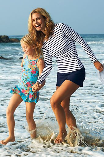 Womens Beach Living Swim Shorts with Tummy Control from Lands End #swim $32.40