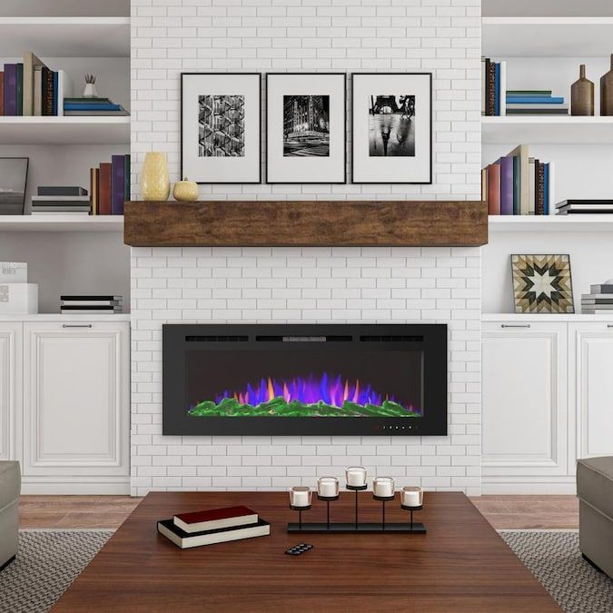 Hastings Home 60 In W Black Fan Forced Electric Fireplace Lowes Com In 2021 Built In Around Fireplace White Brick Fireplace Electric Fireplace Wall