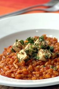 Interesting vegetarian recipe for Barley Risotto with Feta cheese.