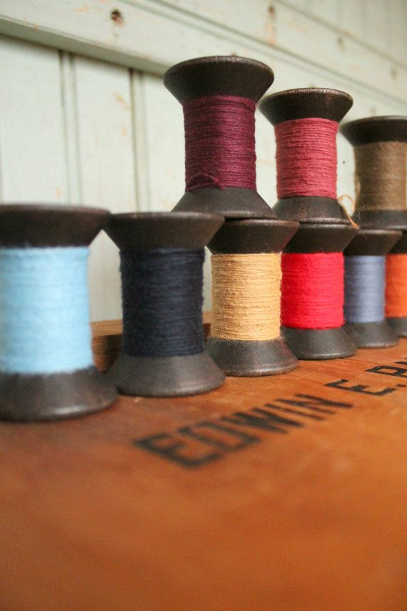 Single Primitive Spool Black Wooden Spools 2 by worthygoodstextile