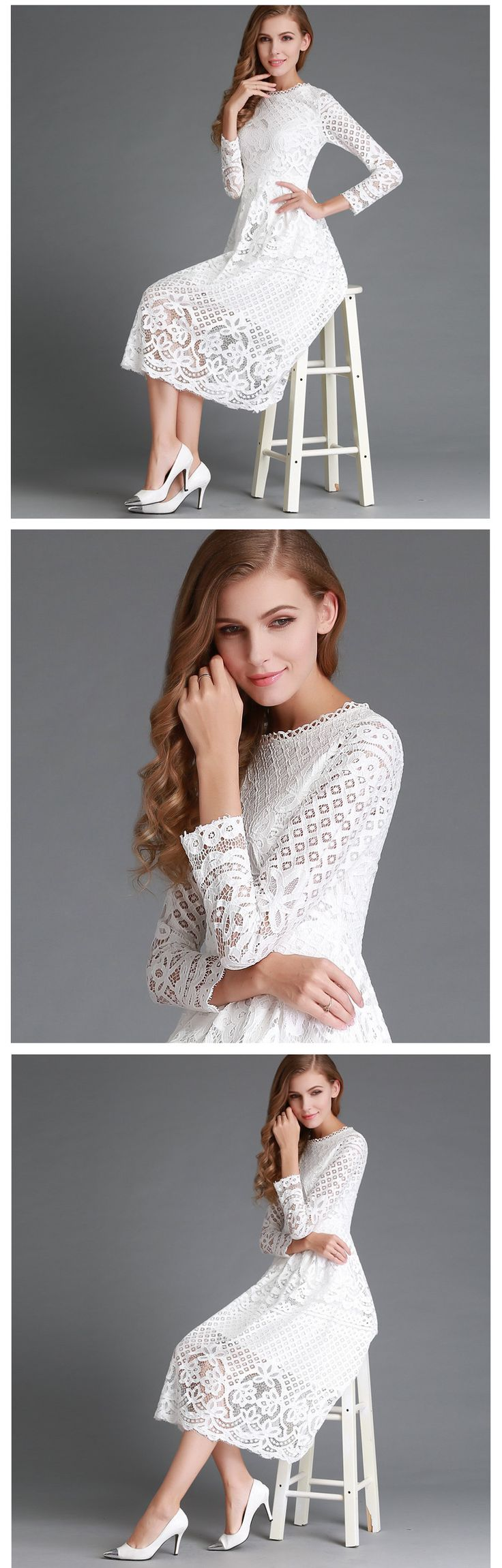 Spring Women's Lace Hollow Out Long Dresses