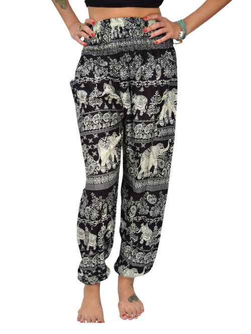 Save elephants and get comfortable with our extremely popular Raju elephant thai harem pants. Portion of every sale donated to prevent elephant poaching. - Black and White elephant print bohemian hare