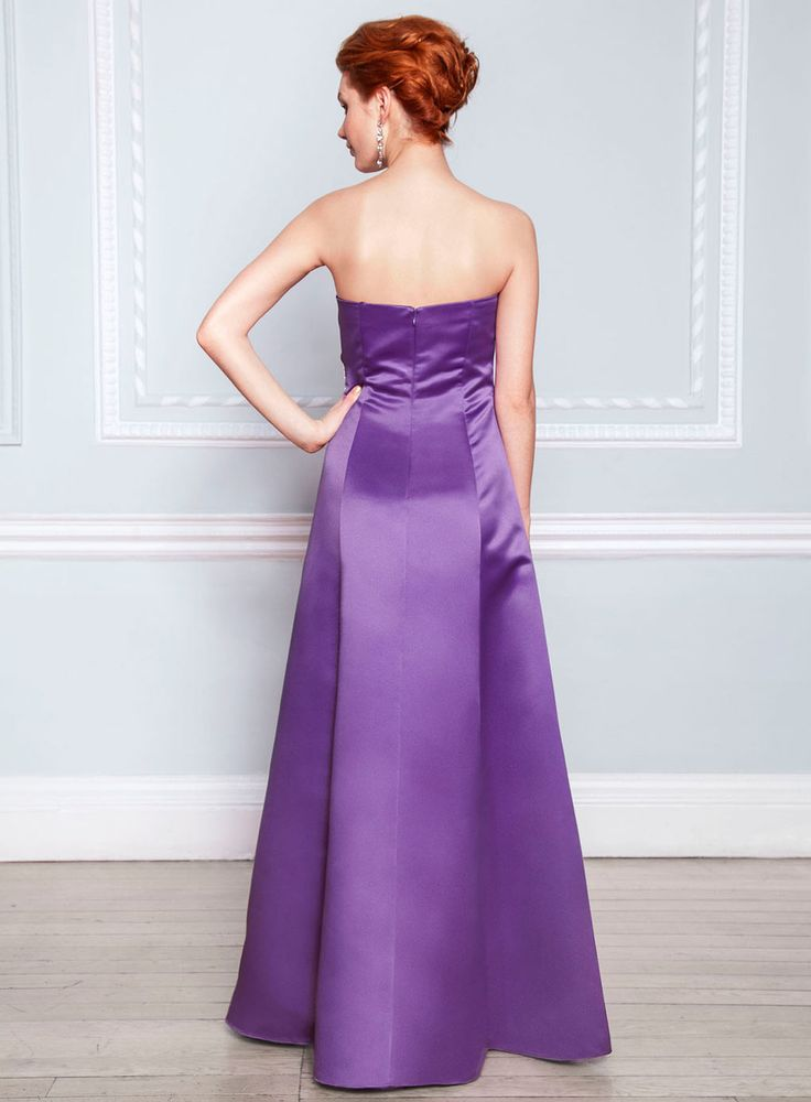 Ella Purple Satin Bridesmaid Dress - purple - shop by colour - Wedding - BHS