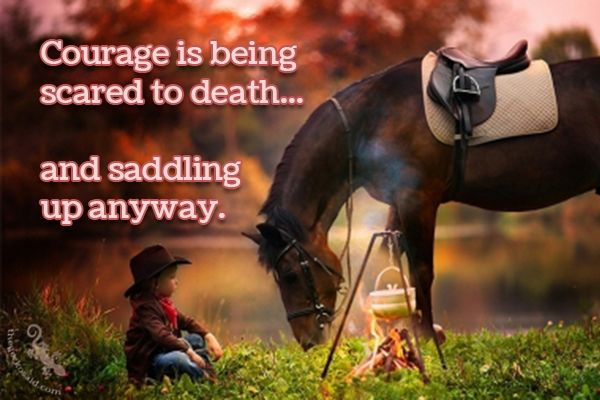 Courage is being scared to death... and saddling up anyway.  #courage #scared #death #saddling #anyway #quotes  ©The Gecko Said - Beautiful Quotes - www.thegeckosaid.com