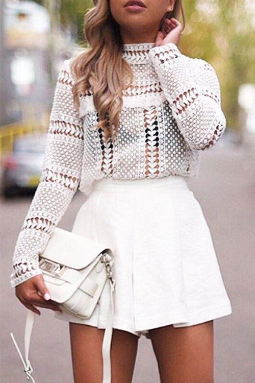 White Lace Блуза с полую конструкцию - US$17.95 -YOINS
