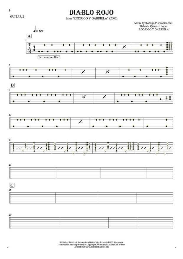 Diablo Rojo - Rodrigo y Gabriela. From album Rodrigo y Gabriela (2006). Part: Tablature for guitar - guitar 2 part