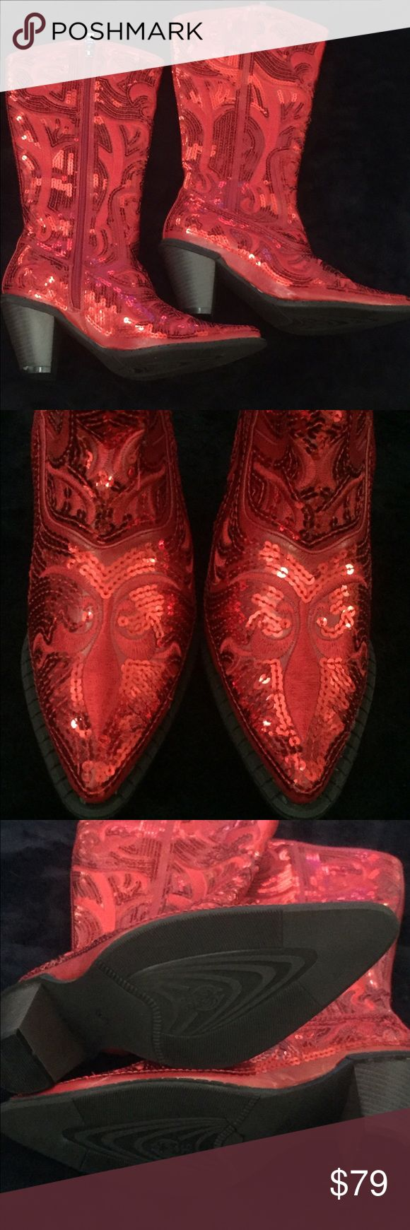John Fashion Sequins Cowboy Boots Red cowboys boots embellished in red sequins.  These boots are New without box.  They have never been worn. JohnFashion Shoes Heeled Boots