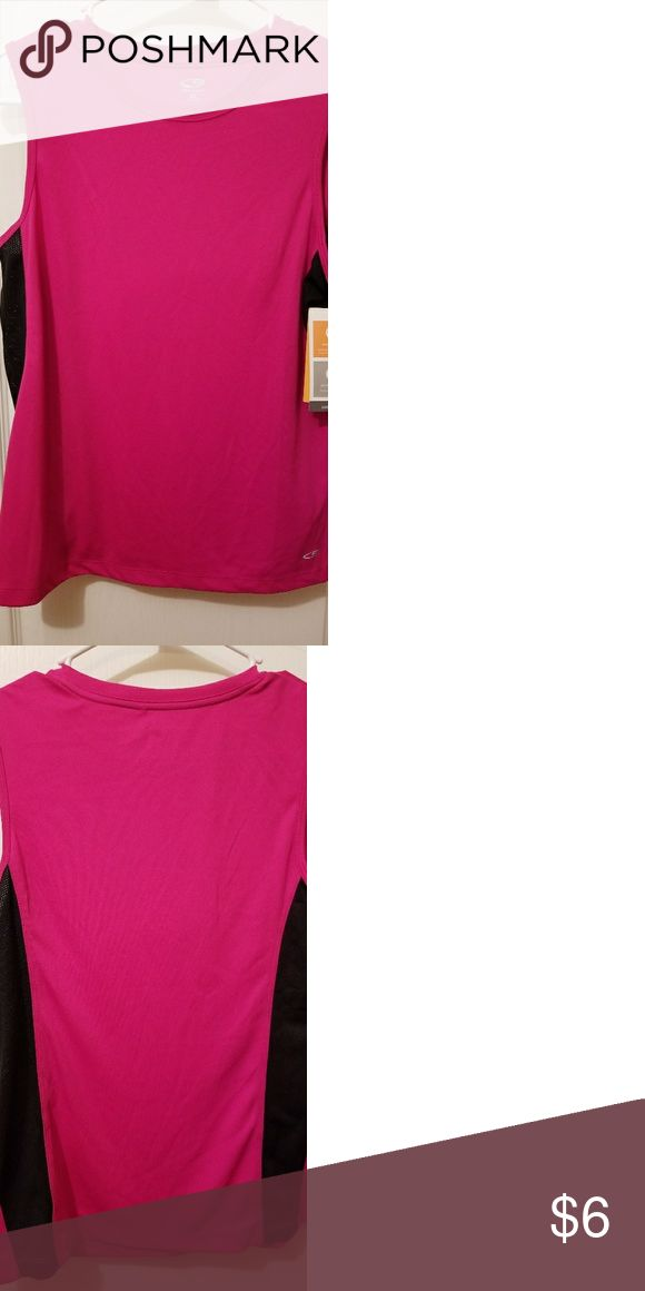 BRAND NEW CHAMPION DUO DRY LITE SHIRT! THIS SHIRT IS BRAND NEW NEVER BEEN WORN. IT I S DUO DRY LITE . SO IT IS PERFECT TO WORKOUT IN OR WEAR ON HOT DAYS! SIZE MEDIUM. PINK AND BLACK AND 100% POLYESTER! Champion Tops Tank Tops