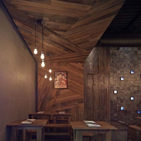 Wood feature wall with assymetrical layout