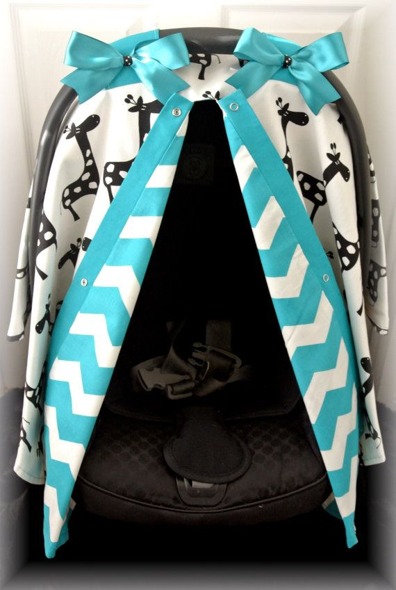 carseat canopy car seat cover black white TEAL by JaydenandOlivia, $39.99