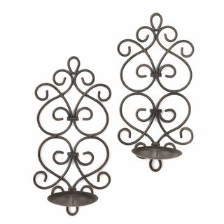 $34.95 - Pretty up the wall in any room with this dazzling duo of candle holder wall sconces! Two scrollwork metal candle wall sconces feature swirling metal wire designs and pedestals for the candles of your choice.