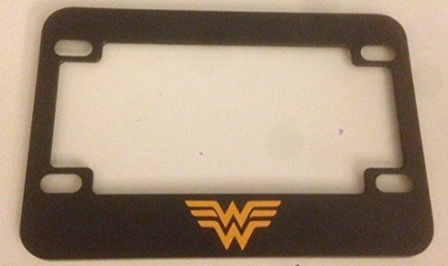 W  Wonder Woman Style  Black with Yellow Motorcycle  Scooter License Plate Frame  Super Mom Super Girl Super Woman >>> To view further for this item, visit the image link.Note:It is affiliate link to Amazon.