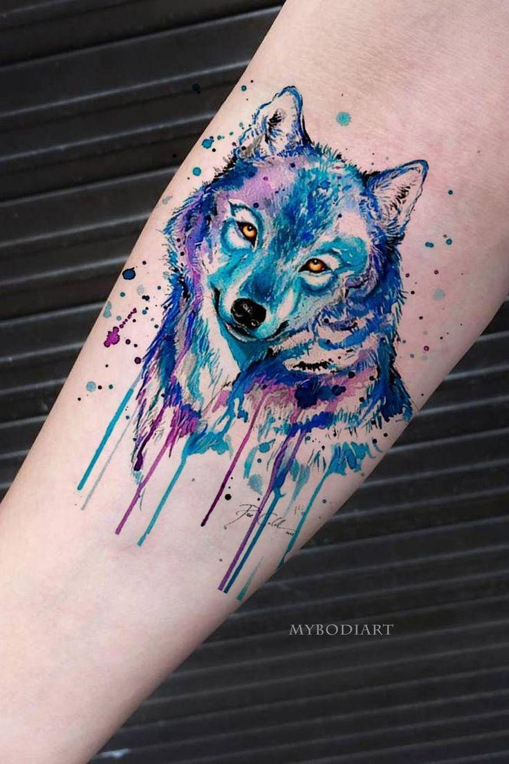 Cute Watercolor Blue Wolf Forearm Temporary Tattoo Ideas for Women -  Acuarela lobo antebrazo tatuaje ideas para mujeres - www.MyBodiArt.com | ROUPAS | Tattoos, Watercolor wolf tattoo, Wolf eye tattoo
