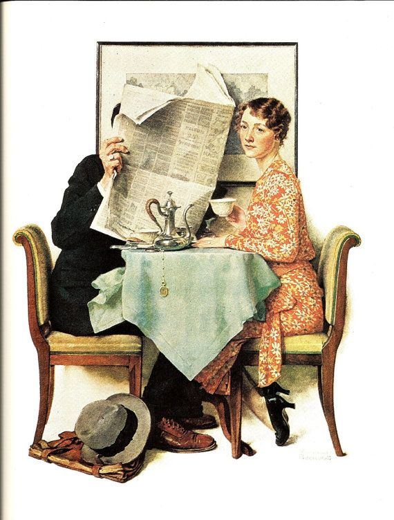 Norman Rockwell - At The Breakfast Table - Vintage Art Print - Rockwell Book Plate, Book Print - Saturday Evening Post Cover - 1930
