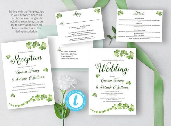 13 best wedding invitation suites images on pinterest rsvp printable irish wedding invitation diy celtic wedding stopboris Choice Image