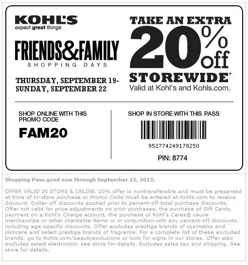 Kohls online shopping coupons