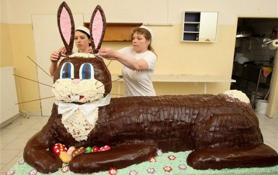 Easter Bunny Cake---Now that it is a lot of coconut grass