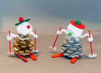 Pine Cone Crafts | facts around us: How to Make a Pinecone Skier | pinecone craft ideas Más
