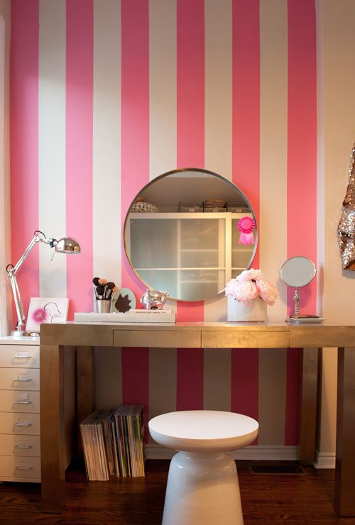 pink stripes!Decor, Stripes Wall, Pink Stripes, Dresses Area, Vanities, Girls Room, Victoria Secret, Beautiful Room, Accent Wall