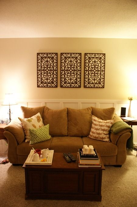 DIY wall art- variations of this could be way cool...especially with fabric under the design!