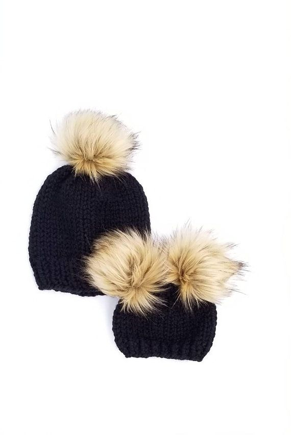 4784ff38 Mommy and Me Hats Matching Hats Baby Girl Gift Mommy and Baby hats, double  pom pom beanies, fur pom pom hats