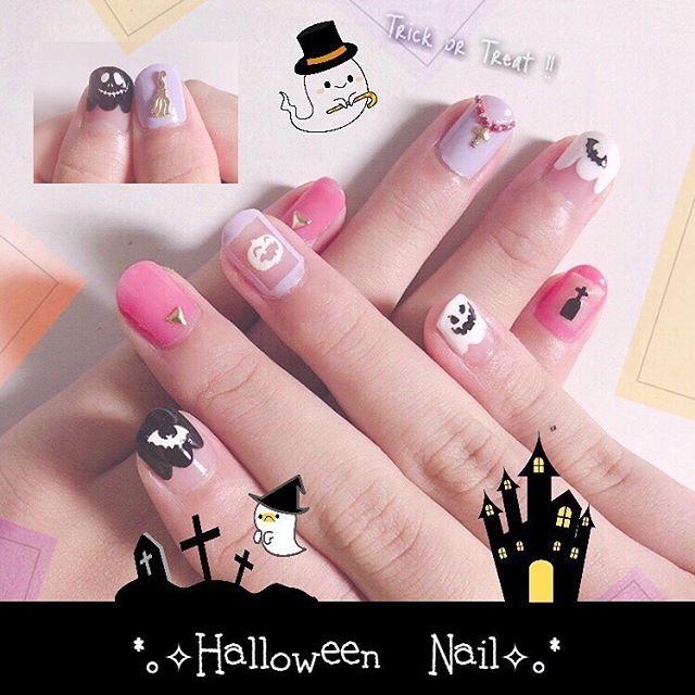 #ハロウィン #セルフネイル #ピンク #紫 #黒 #白 #くり抜きネイル #もこもこフレンチネイル 数時間後に英会話教室のハロウィンパーティがあるので爪もそれ仕様。もこもこフレンチって案外簡単なんだね。シンプル且つすごい可愛い。3人留学生呼ぶし、ホワイトエレファントゲームもするし、てんこ盛りもりです。いぇい。