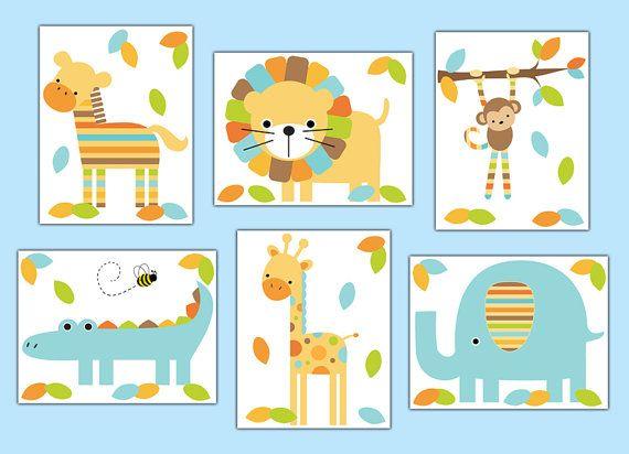 SAFARI NURSERY PRINTS or Decal Wall Art Boy Jungle Animal Stickers Room Decor Baby Shower Gift Decorations Giraffe Elephant Monkey Zebra