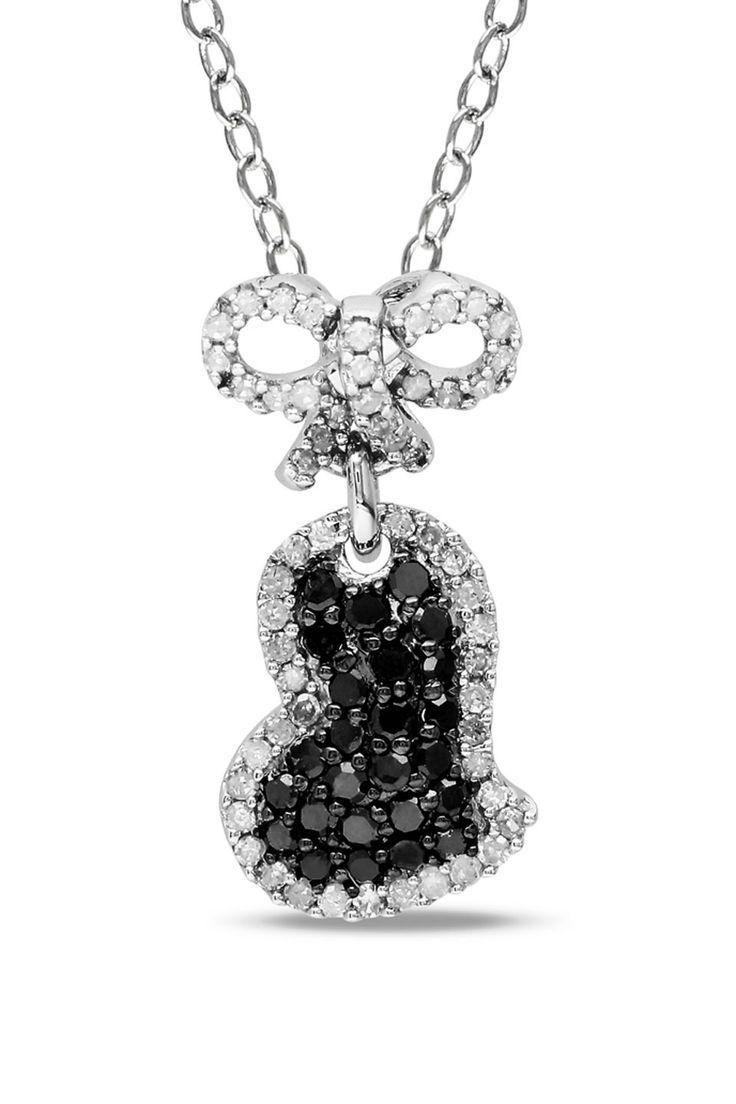 Black And White Diamond Heart Pendant
