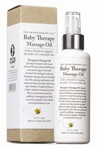 The Aromatherapy Co. Baby Therapy Massage Oil 150ml.  The Aromatherapy Co. Baby Therapy Massage Oil is a calming, therapeutic massage oil with a blend of organic lavender & essential oils.  Made in New Zealand.