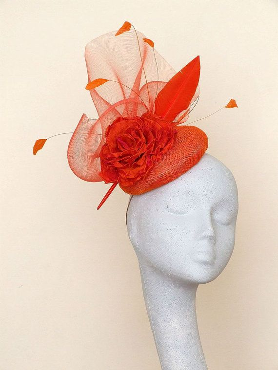Orange Fascinator Headpiece by CoggMillinery on Etsy