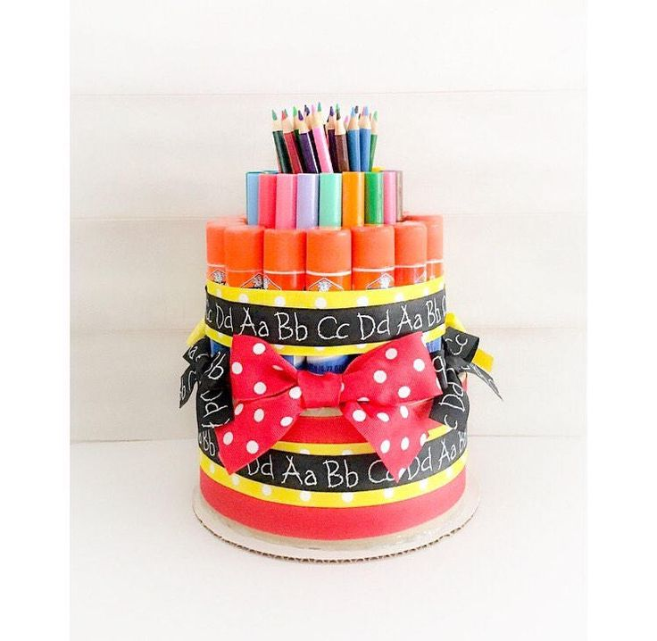 Practical holiday gifts for teachers: A school supply cake