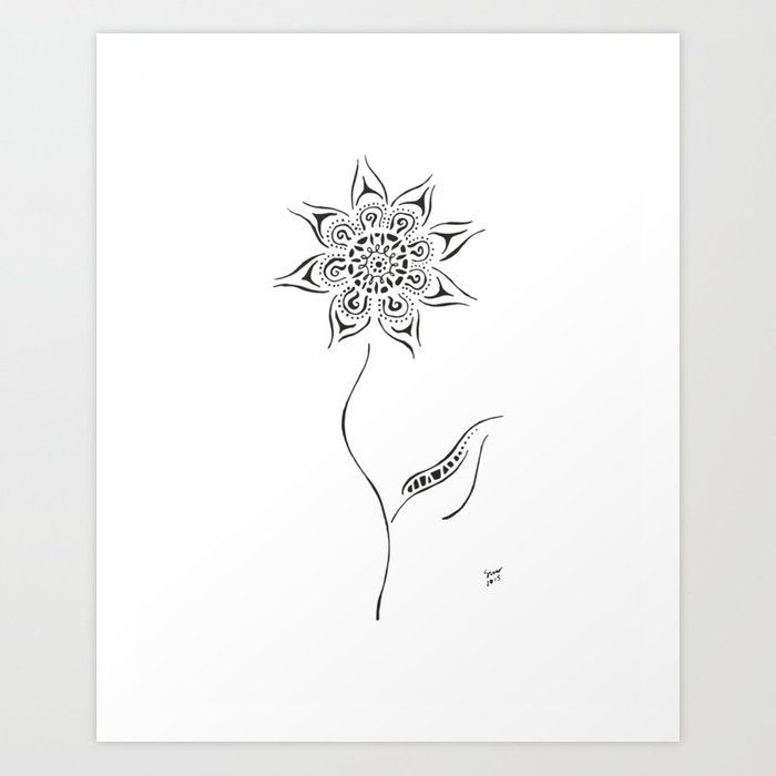 Flower Art Print Black And White Ink Drawing By Siret Roots