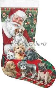 NeedlepointUS - World-class Needlepoint - Santa & Christmas Puppies Hand Painted Needlepoint Stocking Canvas, Hand Painted Canvases, AXS364
